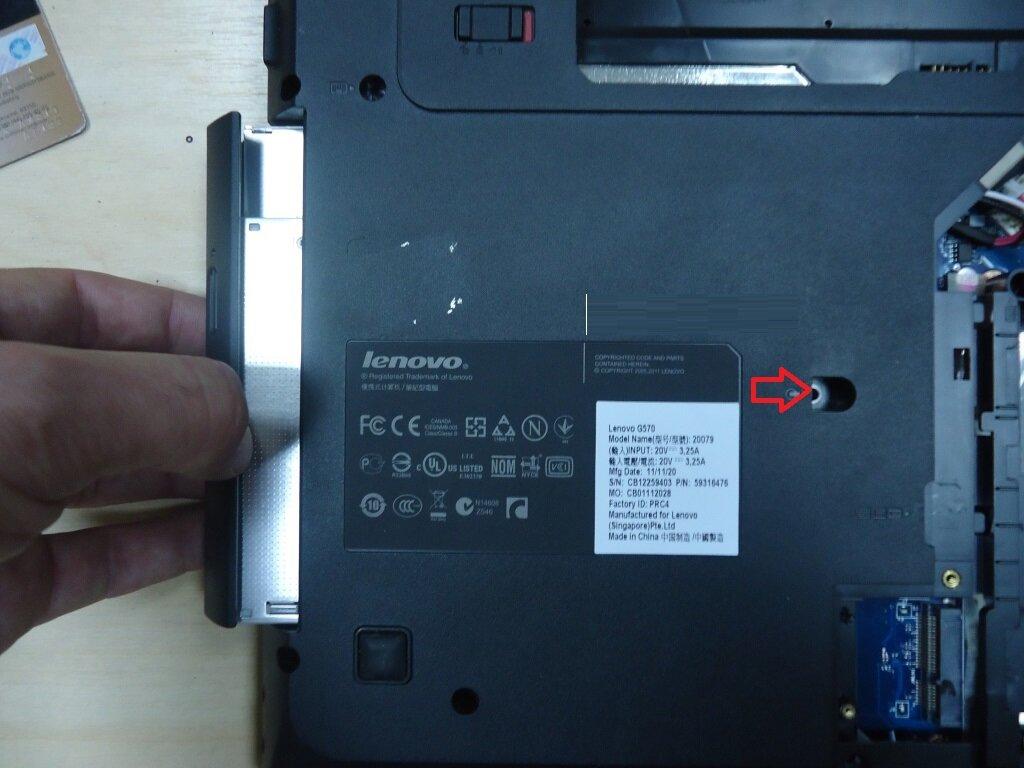 разборка Lenovo G570 снять привод