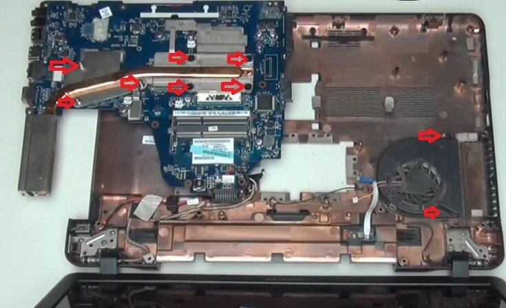 Разборка Toshiba Satellite C660 система охлаждения