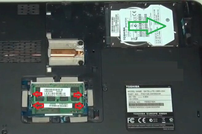 Разборка Toshiba Satellite C660 снять жесткий диск