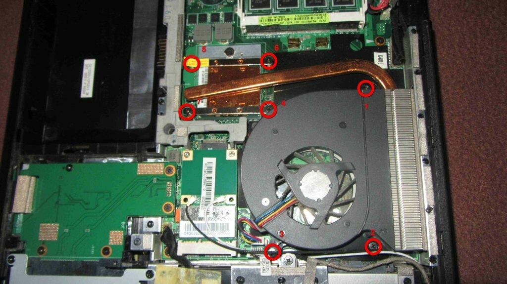 Демонтаж системы охлаждения Asus K40