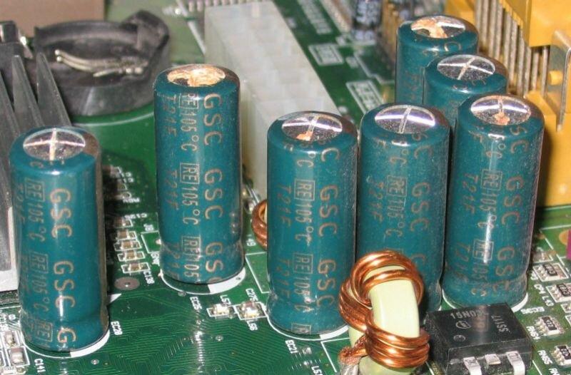 Вздутые электролитические конденсаторы материнской платы