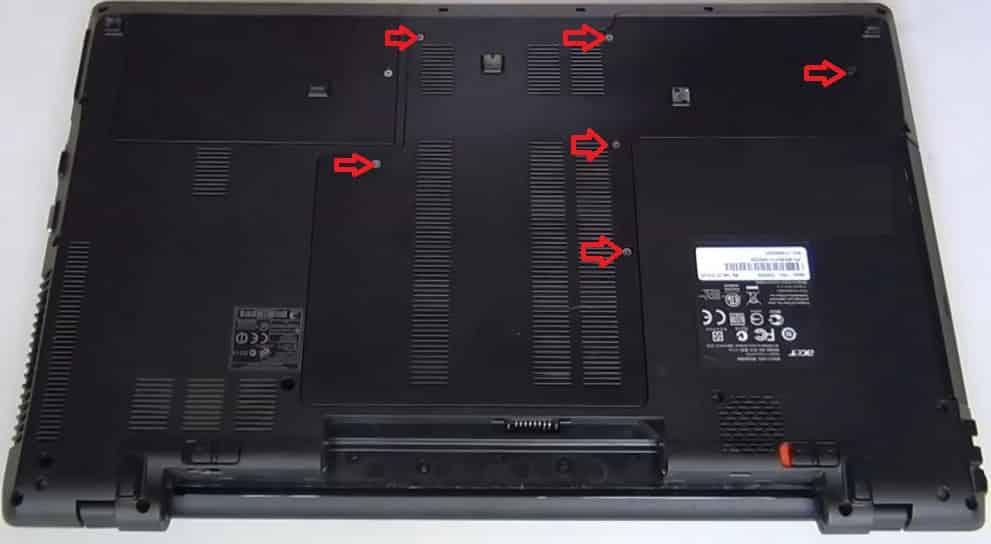 Разборка Acer Apsire 7745G снять батарею