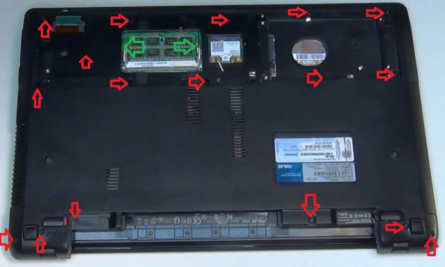 Разборка Asus X73S (инструкция в картинках)